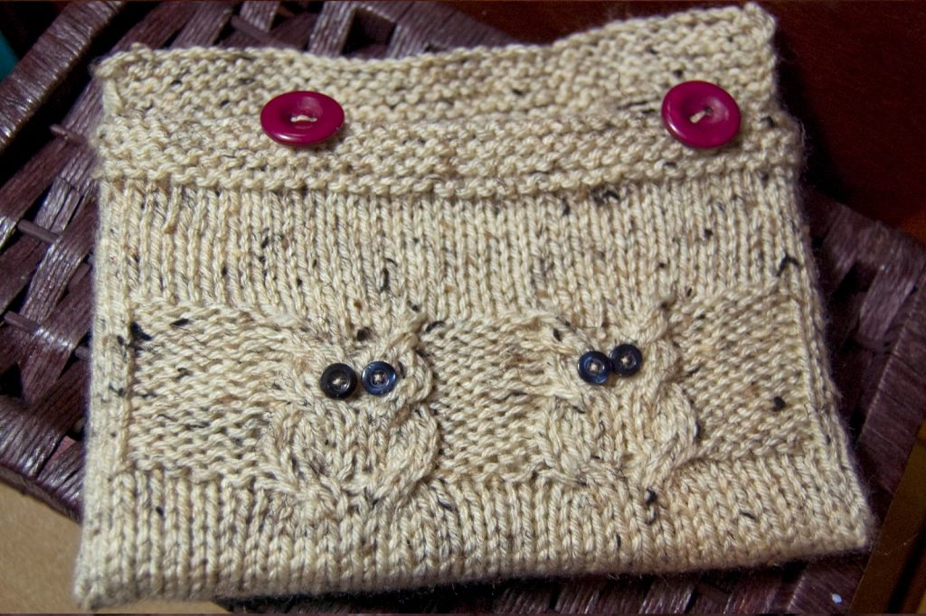 knitted beige book cover with owls