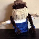 hand crocheted farmer puppet