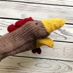 hand knit rooster puppet