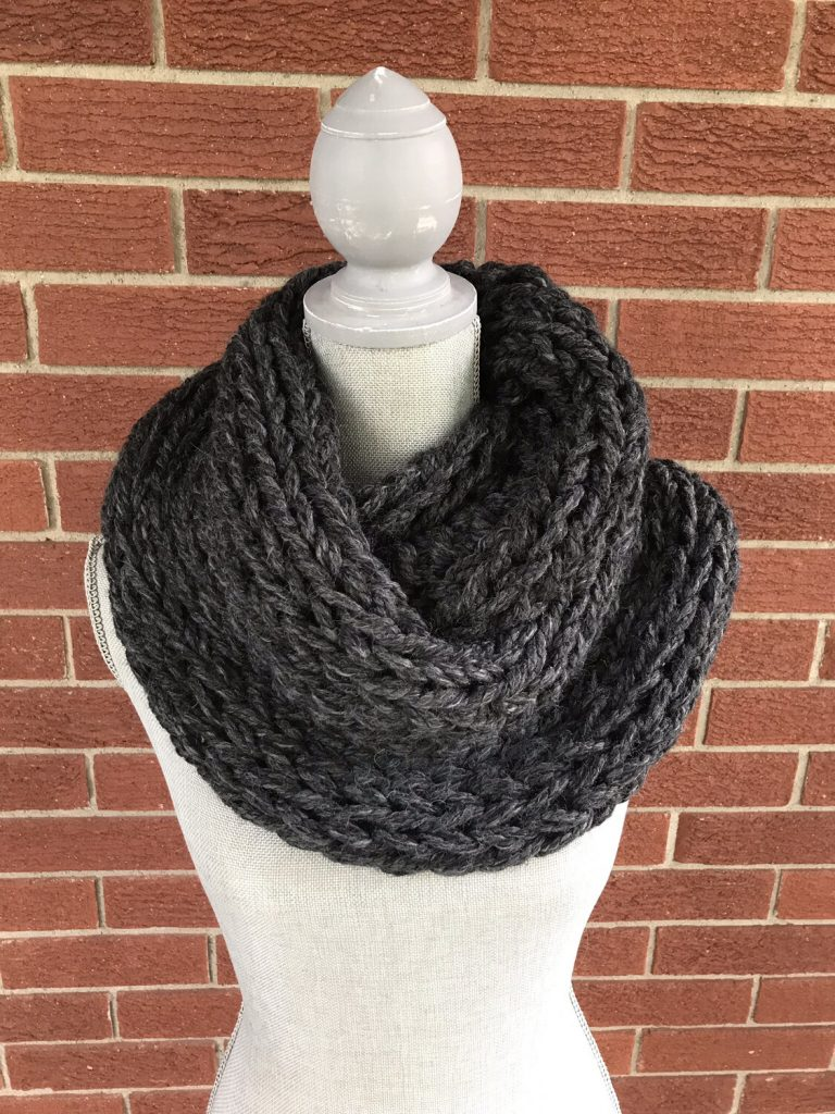 hand knit chunky scarf gray