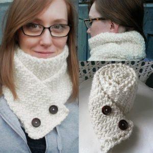 Megan Lee from Wool Street wearing hand knit scarf