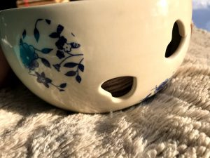 view of cut out hearts on yarn bowl
