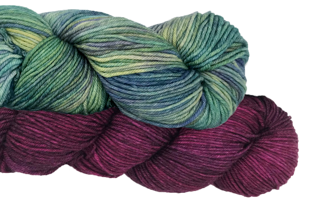 2 skeins of yarn on clear background